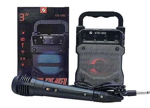 Loa bluetooth karaoke KTS-1092, kích thước nhỏ, kèm 1 mic