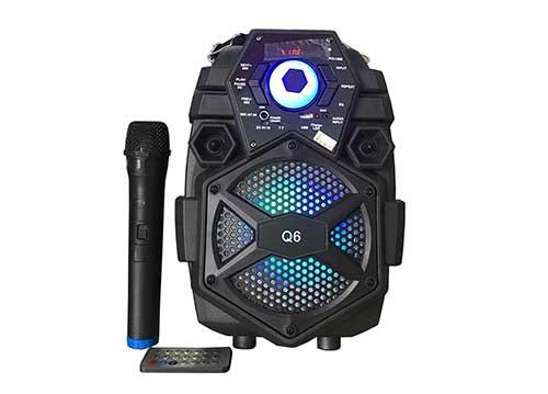 Loa bluetooth karaoke Q6, bass 1.5 tấc, kèm mic không dây