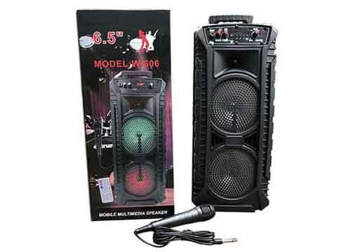 Loa karaoke bluetooth W606, loa 2 bass, công suất 50W
