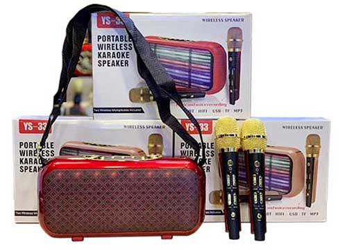 Loa karaoke bluetooth YS33, có dây đeo vai & 2 mic không dây