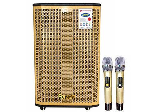 Loa kéo karaoke FORZEN V-1502, loa 3 đường tiếng, 2 mic UHF