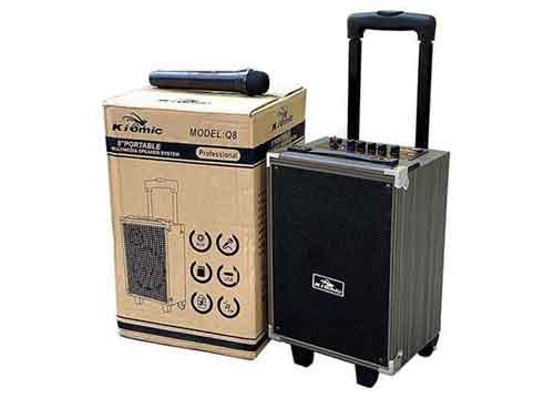 Loa kéo Kiomic Q8 Pro, loa karaoke vỏ gỗ, bass 2 tấc