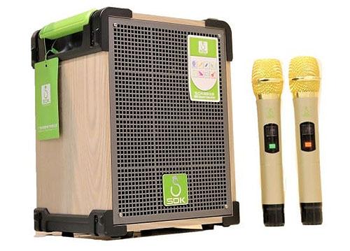 Loa kéo SOK 318, loa karaoke mini vỏ gỗ, bass 1.5 tấc