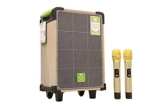 Loa kéo SOK 338, loa karaoke cỡ nhỏ, kèm 2 mic không dây