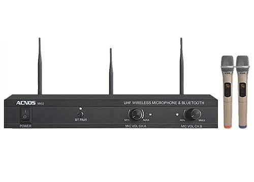 Microphone không dây Acnos MI02, tích hợp bluetooth, set tần số