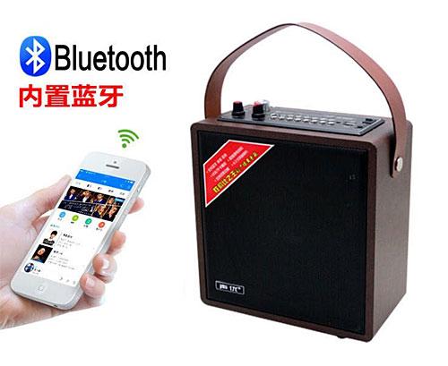 599k - Loa gỗ bluetooth karaoke xách tay dây da A061 tặng kèm micro không dây 300w giá sỉ và lẻ rẻ nhất