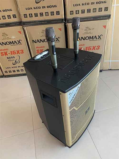Loa kéo Nanomax SK-15X3, loa karaoke rất hay, bass 4 tấc